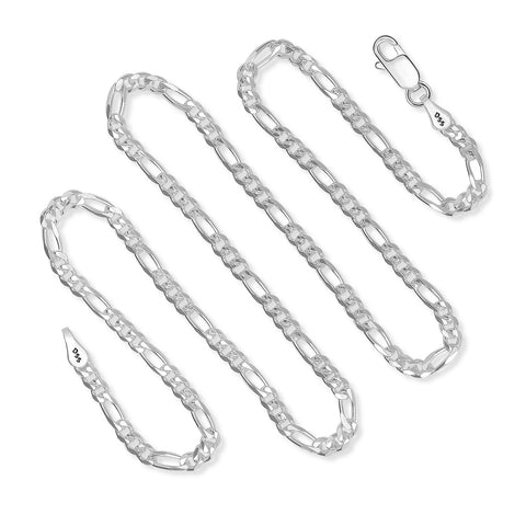 3MM Sterling Silver Figaro Chain For Men and Women