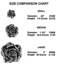 Load image into Gallery viewer, 3 sizes of stainless steel rose pendant. Will not tarnish or dent.