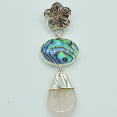 Abalone, Mother of Pearl and Rose Quartz Pendant, rose quartz is tear drop shape. Mother of Pearl is in a flower shape, abalone, round shape