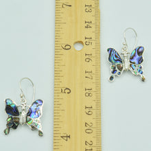 Load image into Gallery viewer, Abalone, Mother of Pearl or Red Coral Butterfly Sterling Silver Earrings