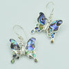 Abalone, Mother of Pearl or Red Coral Butterfly Sterling Silver Earrings