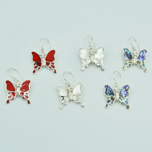 Butterfly sterling silver, 925, pierced fish hook earrings. Choice of abalone, mother of pearl or red coral. Genuine