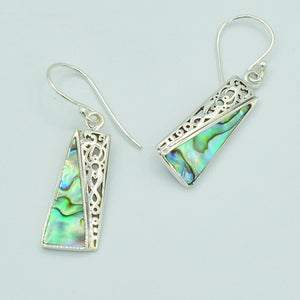 Abalone Sterling Silver Rectangle Geometric Shape Pendant