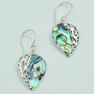 Mother of Pearl or Red Coral or Abalone Sterling Silver Earrings