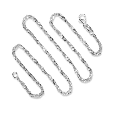 2MM Sterling Silver Singapore Chain with Lobster Claw Clasp.16