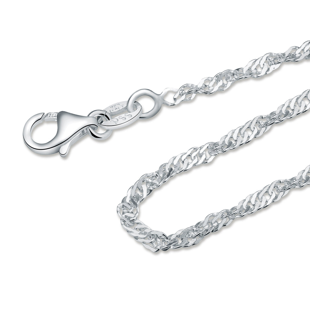 2MM Sterling Silver Singapore Chain with Lobster Claw Clasp