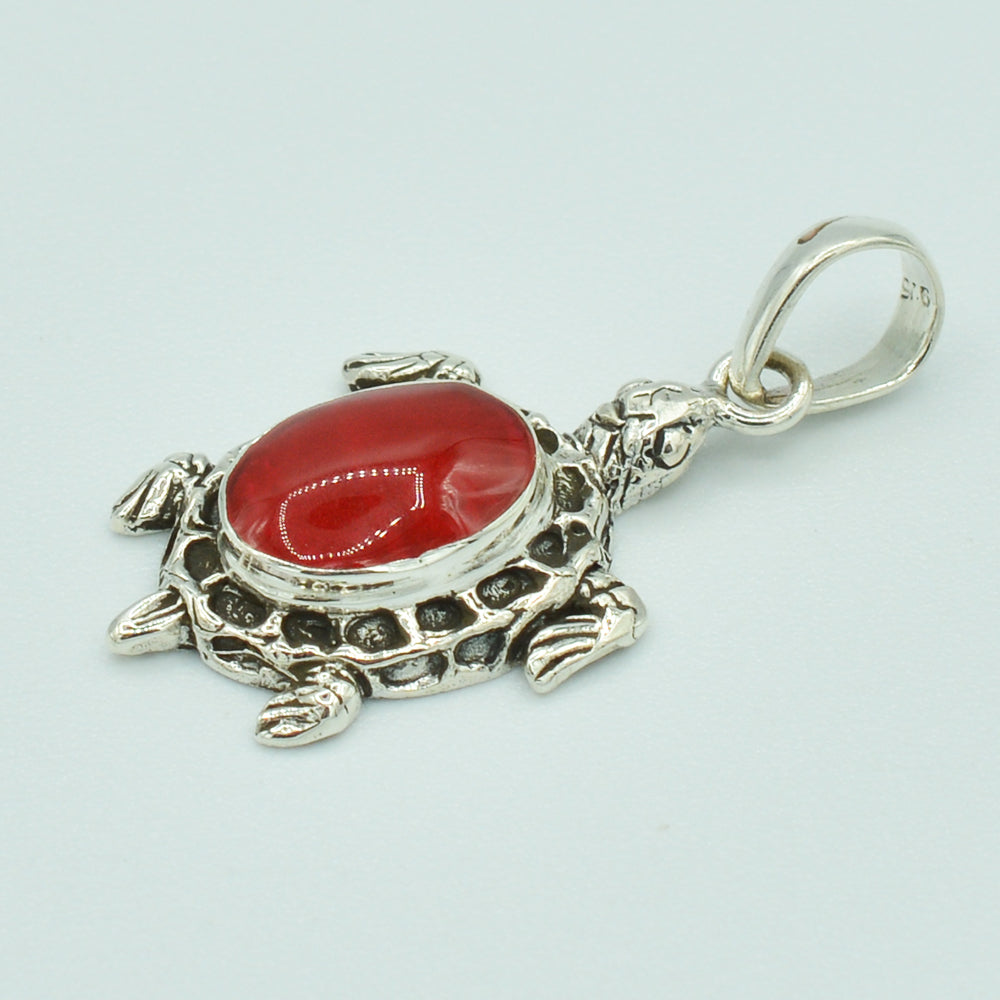 Small Sterling Silver Turtle Pendant set with either Mother-of-Pearl or Red Coral