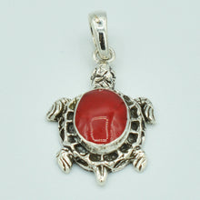 Load image into Gallery viewer, Small Sterling Silver Turtle Pendant set with either Mother-of-Pearl or Red Coral