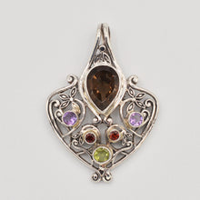 Load image into Gallery viewer, Sterling Silver Smokey Quartz, Amethyst, Garnet and Peridot Pendant