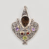 Sterling Silver Smokey Quartz, Amethyst, Garnet and Peridot Pendant
