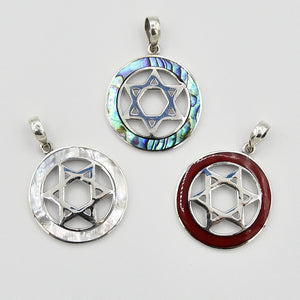 Sterling Silver Star of David Pendant with either Abalone, Mother of Pearl or Red Coral