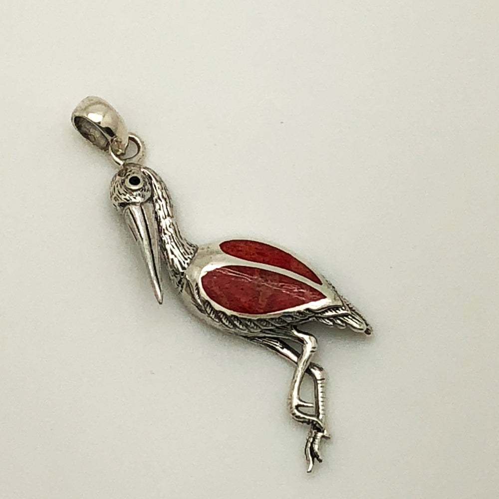 Sterling Silver and Coral Stork Pendant