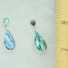 Load image into Gallery viewer, Sterling Silver Teardrop Earrings inlaid with Mother-of-Pearl, Red Coral, or Abalone