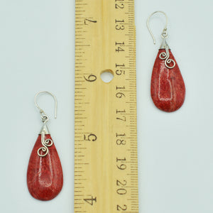 Coral and Sterling Silver dangle pierced Earrings. tear shape.