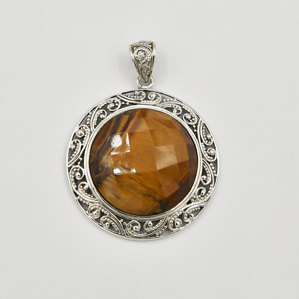 Tiger-eye Faceted Sterling Silver Pendant - Round - one of a kind