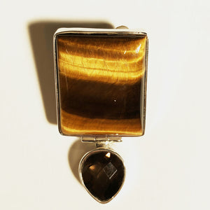 "Square Tiger-eye and teardrop Smoky Quartz 1.5"" Pendant set in Sterling Silver - one of a kind"