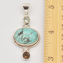 Load image into Gallery viewer, Turquoise, Smokey Topaz and Quartz Sterling Silver Pendant