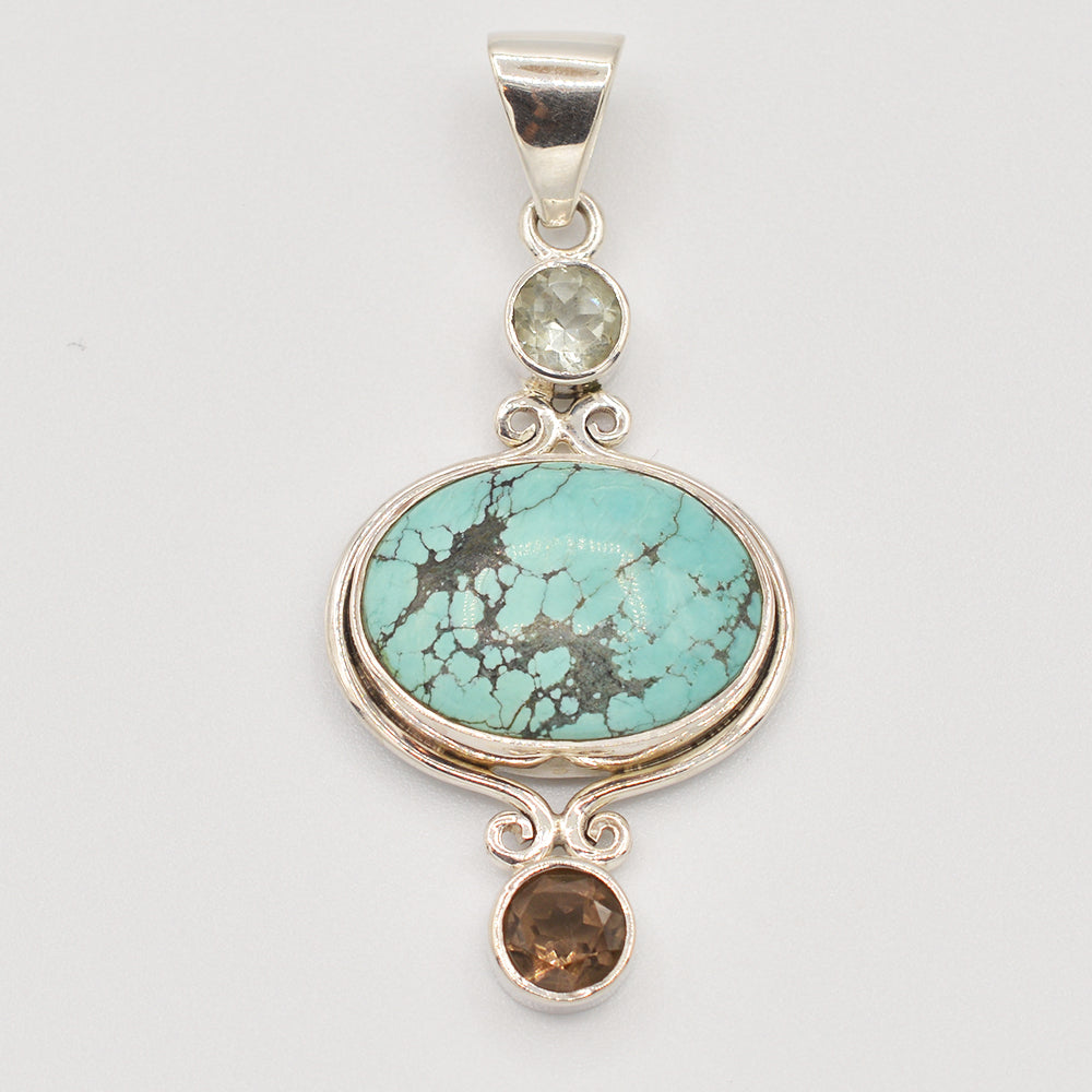 Turquoise, Smokey Topaz and Quartz Sterling Silver Pendant