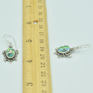Sterling Silver Turtle Earrings with inlaid Mother-of-Pearl or Abalone