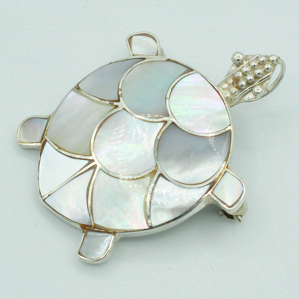 Sterling Silver and Mother-of-Pearl Turtle Pendant