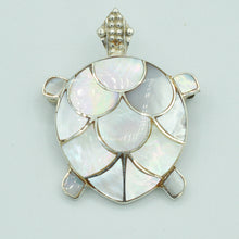 Load image into Gallery viewer, Sterling Silver and Mother-of-Pearl Turtle Pendant
