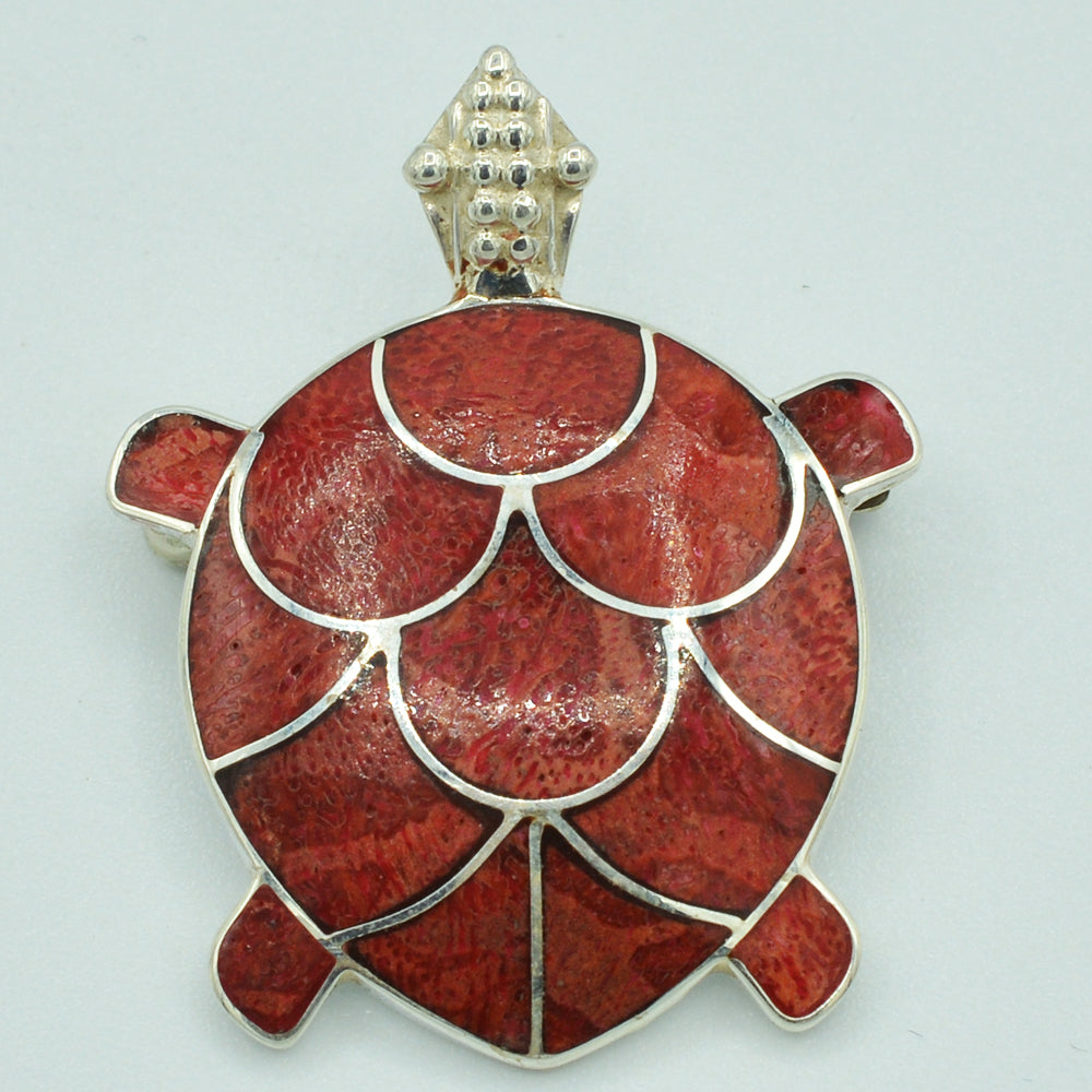Sterling Silver Turtle Pendant with choice of stone