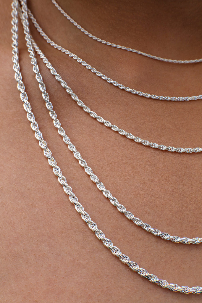 2MM Sterling Silver Rope Chain with Lobster Claw Clasp 16-36""