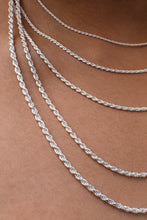 Load image into Gallery viewer, 2MM Sterling Silver Rope Chain with Lobster Claw Clasp 16-36""