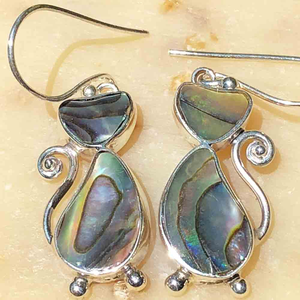 Abalone and Sterling Silver CAT Earrings