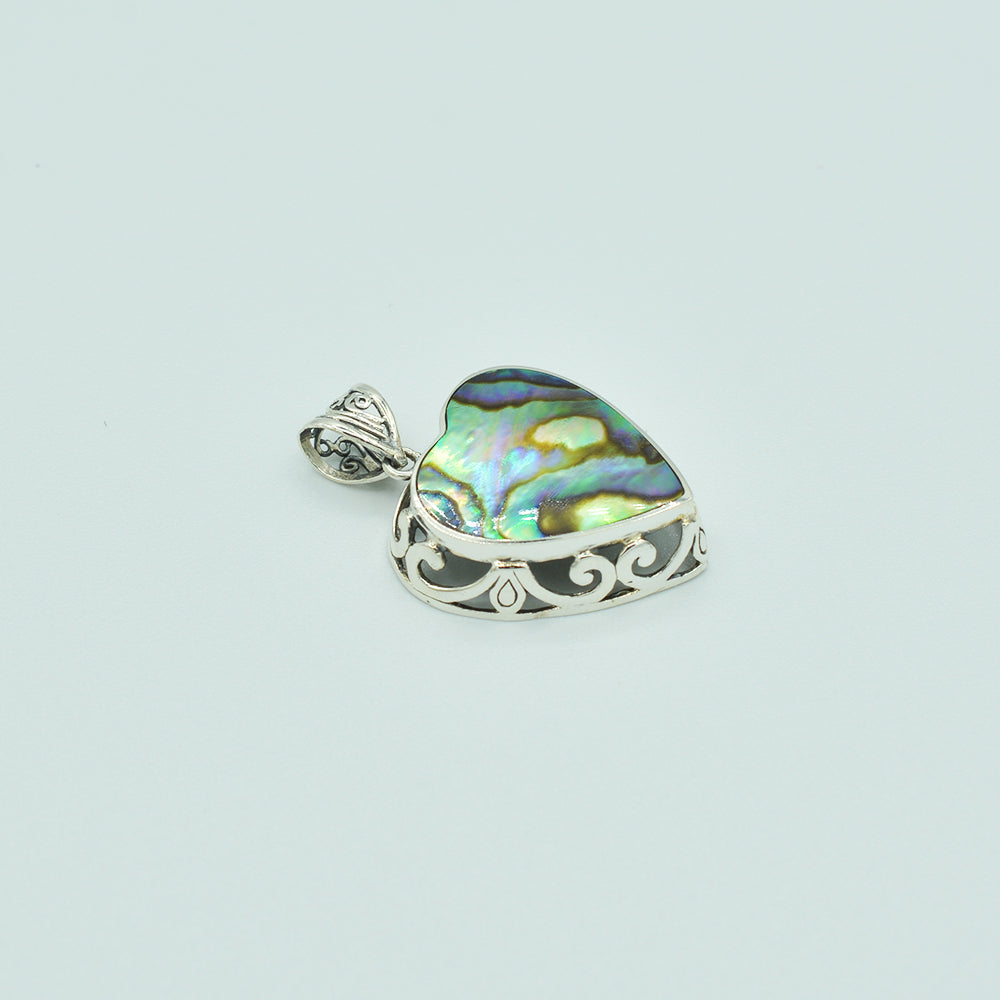 Abalone and Sterling Silver Heart Pendant