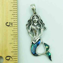 Load image into Gallery viewer, Abalone and Sterling Silver Mermaid Pendant