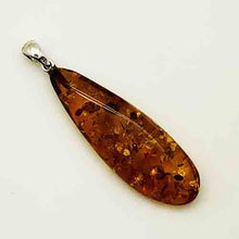 Load image into Gallery viewer, Genuine Amber Pendant and Sterling Silver, long tear drop shape pendant