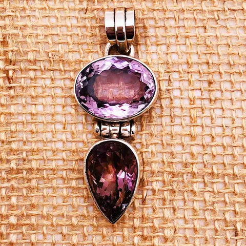 Amethysts and Sterling Silver Pendant