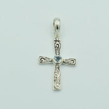 Load image into Gallery viewer, Blue Topaz and Sterling Silver Cross Pendant, Bali style about an inch long, 925 silver