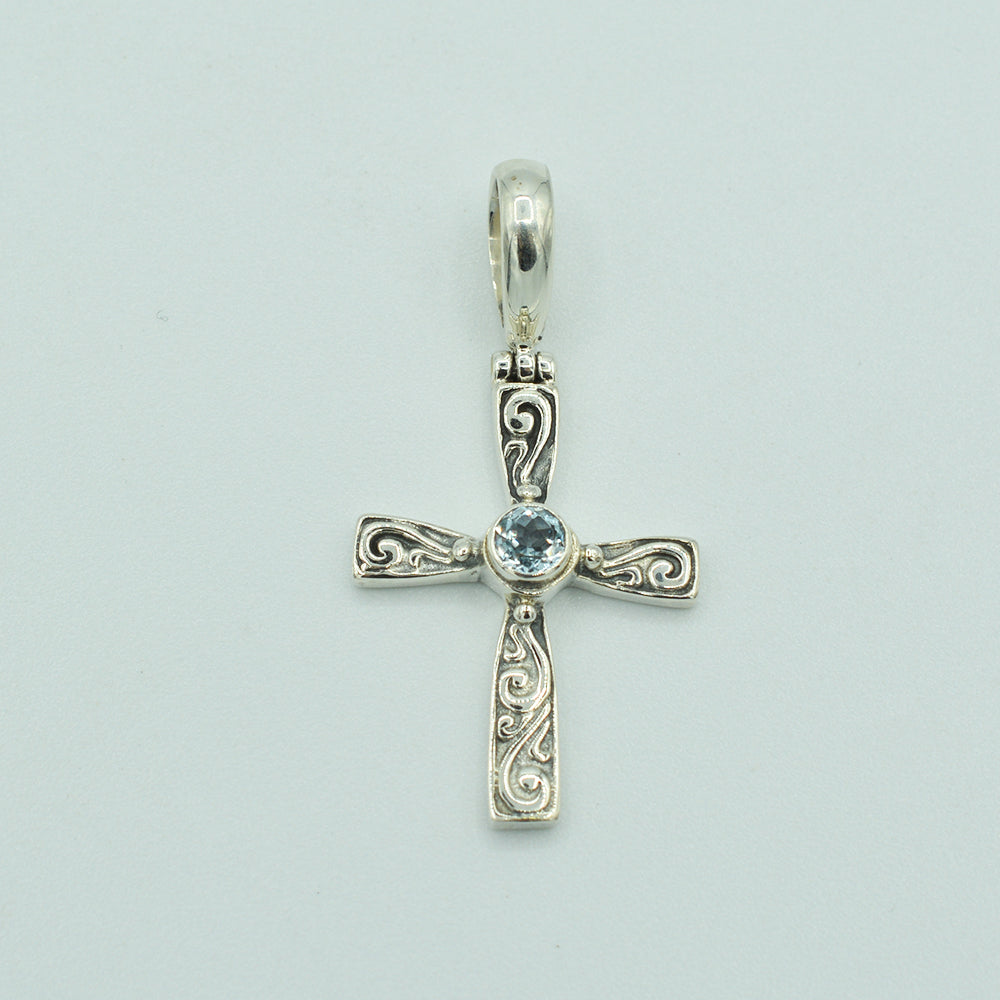 Blue Topaz and Sterling Silver Cross Pendant, Bali style about an inch long, 925 silver