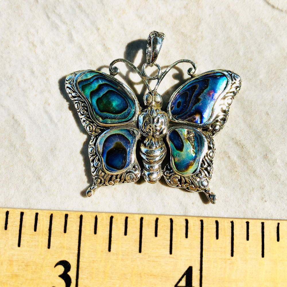 Abalone Sterling Silver Butterfly Pendant