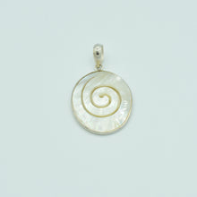 Load image into Gallery viewer, Mother of Pearl and Sterling Silver Hand Carved Pendant