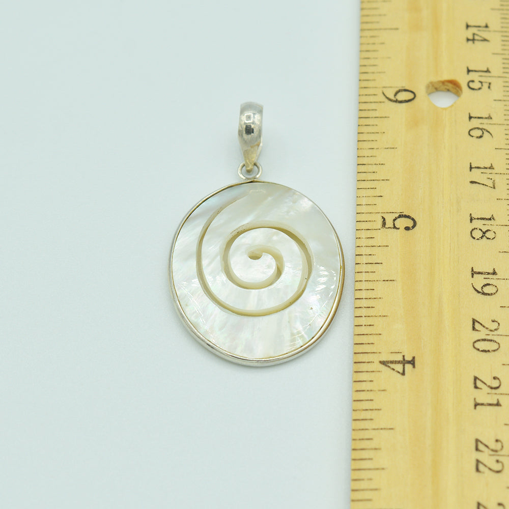 Mother of Pearl and Sterling Silver Hand Carved Pendant