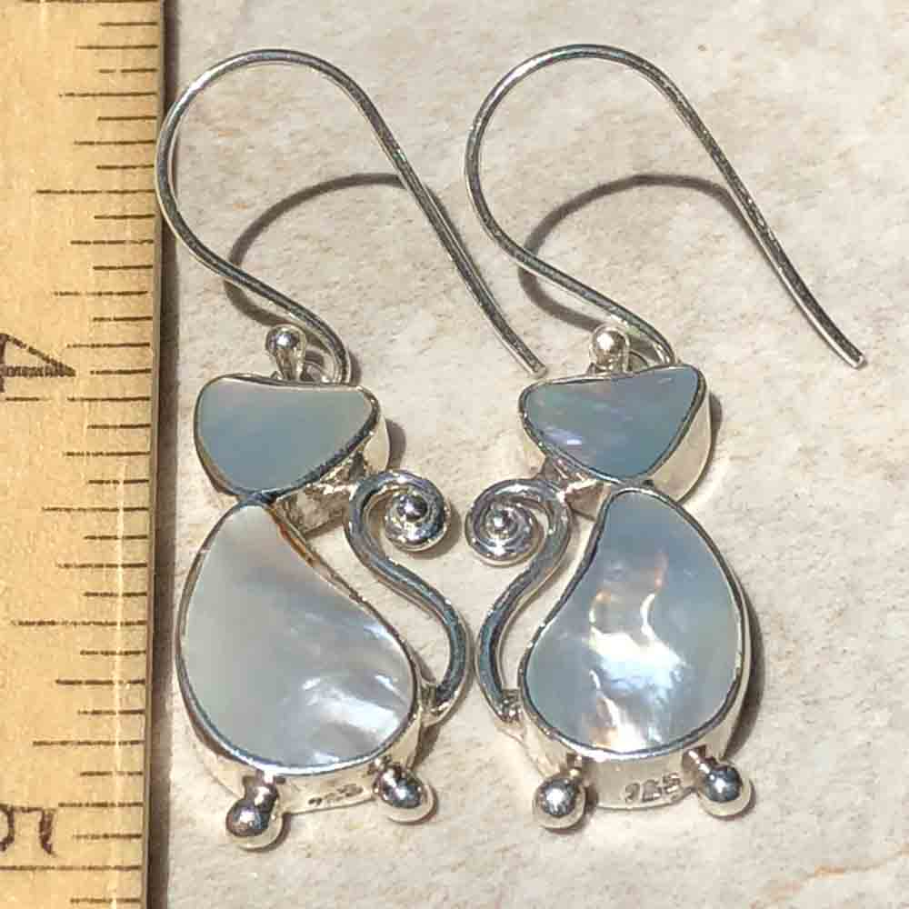 Sterling Silver and Mother of Pearl CAT Earrings