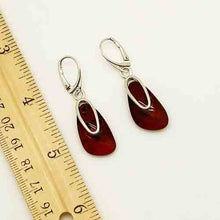 Load image into Gallery viewer, Amber and Sterling Silver pierced drop Earrings