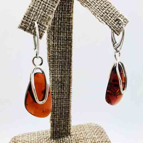Cognac Amber and Sterling Silver pierced drop Earrings
