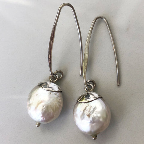 Coin Pearl Sterling Silver Earrings