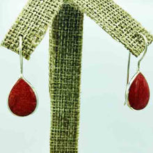 Load image into Gallery viewer, Coral and Sterling Silver dangle pierced Earrings. tear shape.