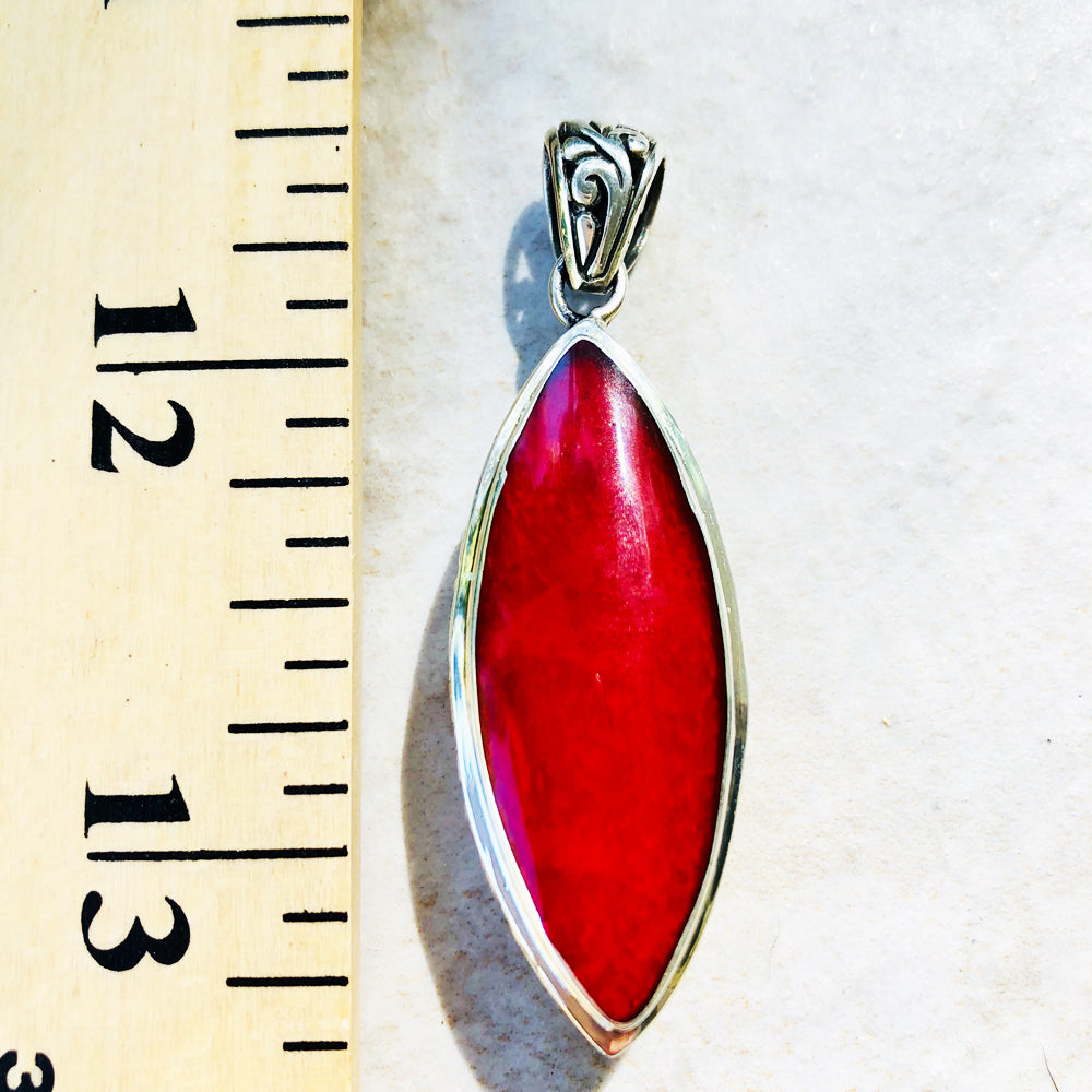 Mother of Pearl and Red Coral Sterling Silver double sided pendant