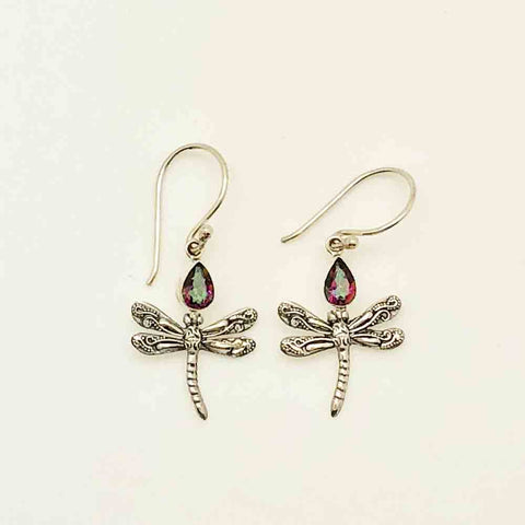 Dragon Fly Sterling Silver Earrings with Mystic Topaz