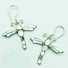 Load image into Gallery viewer, Mother of Pearl and Sterling Silver Dragon Fly Earrings