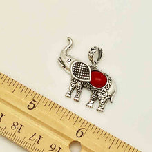 Load image into Gallery viewer, Elephant Sterling Silver and Coral Pendant