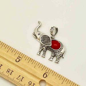 Elephant Sterling Silver and Coral Pendant