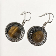 Load image into Gallery viewer, Tiger-eye Faceted Sterling Silver Pendant - Round - one of a kind