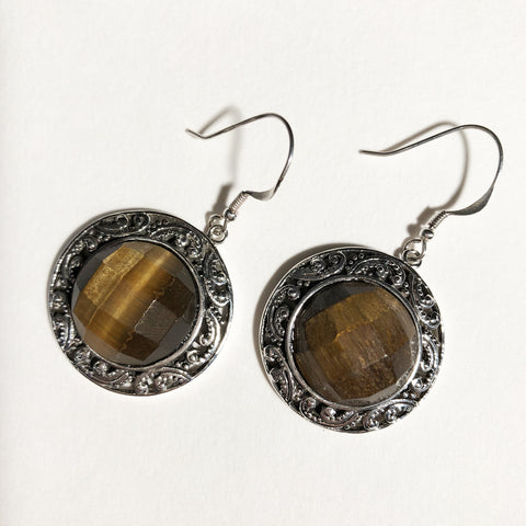 "Silver and Faceted Tiger-eye Round Earrings 3/4"" Round - one of a kind"